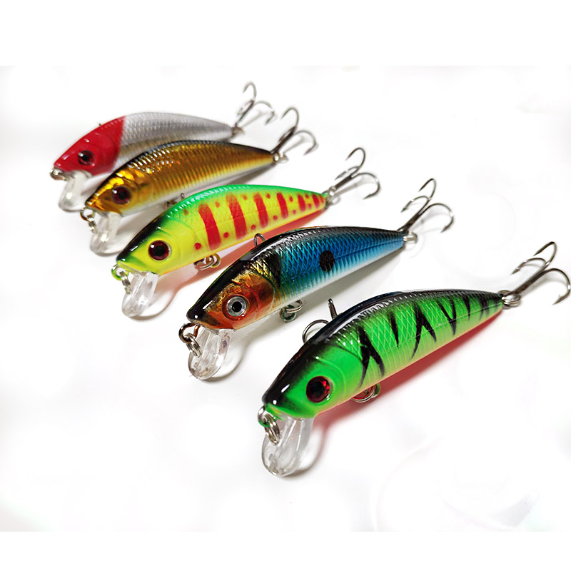 1PCS Fishing Lure 7cm 8.5g Hard Plastic Minnow Plastic Artificial bait 3D Eyes Crankbait Lifelike Bait With two 6# Hooks Fish mip390 dip 7