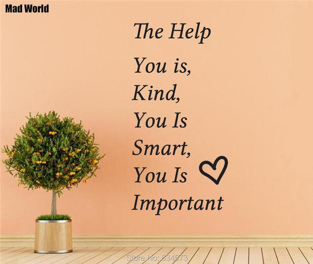 Mad World THE HELP Heart Kind Smart Quote Wall Art Stickers Wall ...