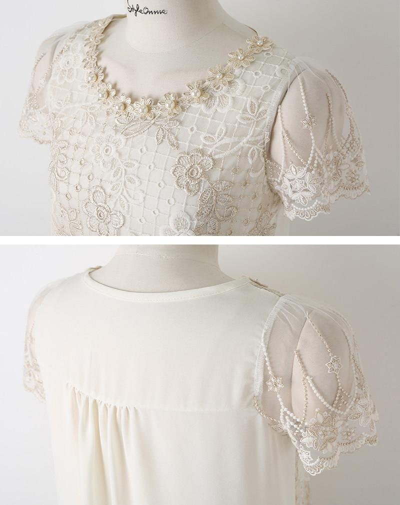 moda qadınlar qısa qol ağ krujeva qadın bluza blusas de rendas - Qadın geyimi - Fotoqrafiya 4