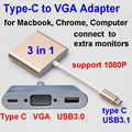 3 em 1 Tipo C para VGA USB3.0 Hub Carregamento USB3.1 cabo MacBook Adaptador monitores adicionais extra Para O telefone Móvel do tipo C dispositivos