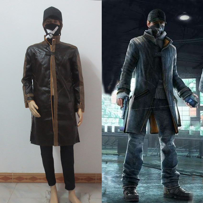 Watch Dogs Aiden Pearce Cosplay Costume Coat pants hat mask