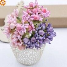 10pcs Artificial Stamen Bud Bouquet Leaf Flower For Home Garden Wedding Car Corsage Decoration DIY Scrapbooking Fake