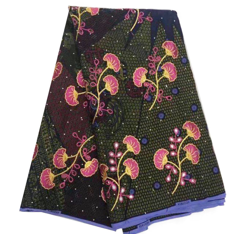 Embroidery Cotton African Super Wax Fabric For Dress Party, Africa Ankara Wax Nigerian Real Dutch Wax Veritable Block Print