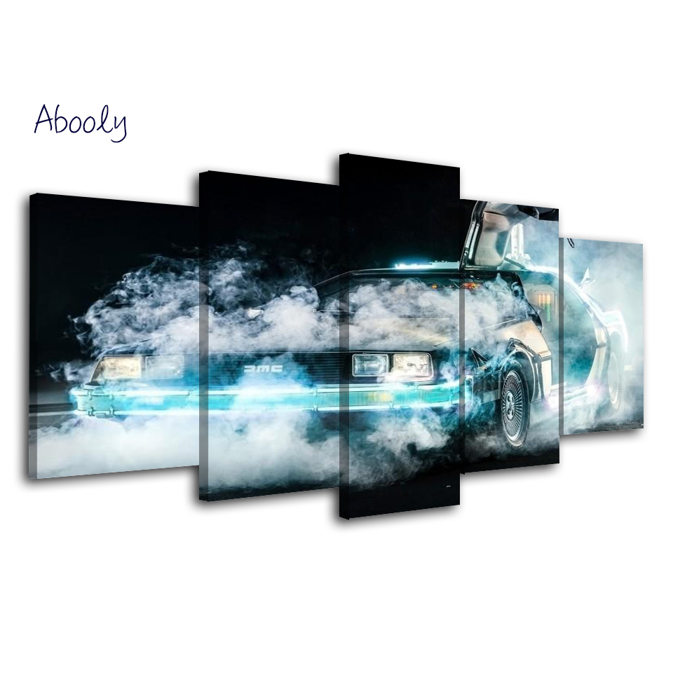 5Piece Canvas Wall Art Back To Future Blue Car Poster Painting Picture For Living Room Wall Picture Printed Art Wall Home Decor
