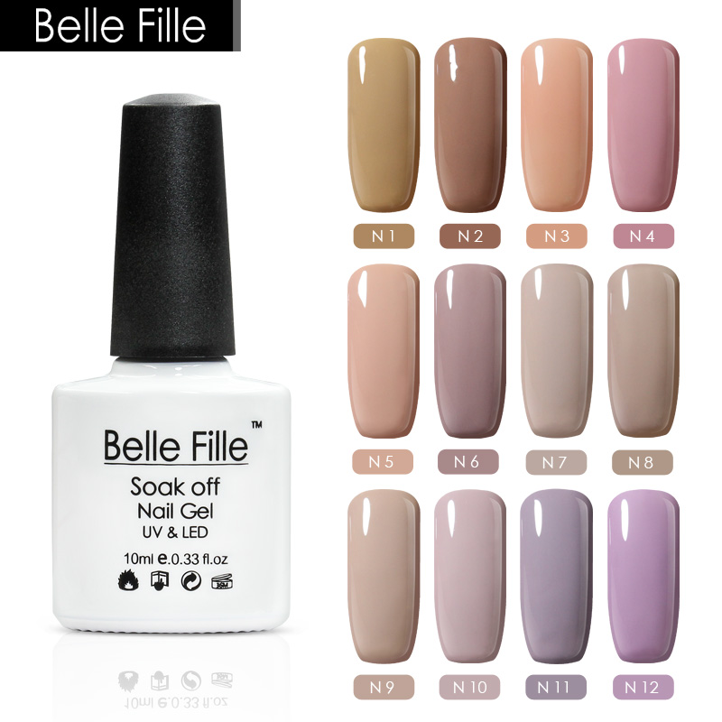 Belle Fille 12 Pcs Nude Gel Nail Polish Beige Varnish Nail