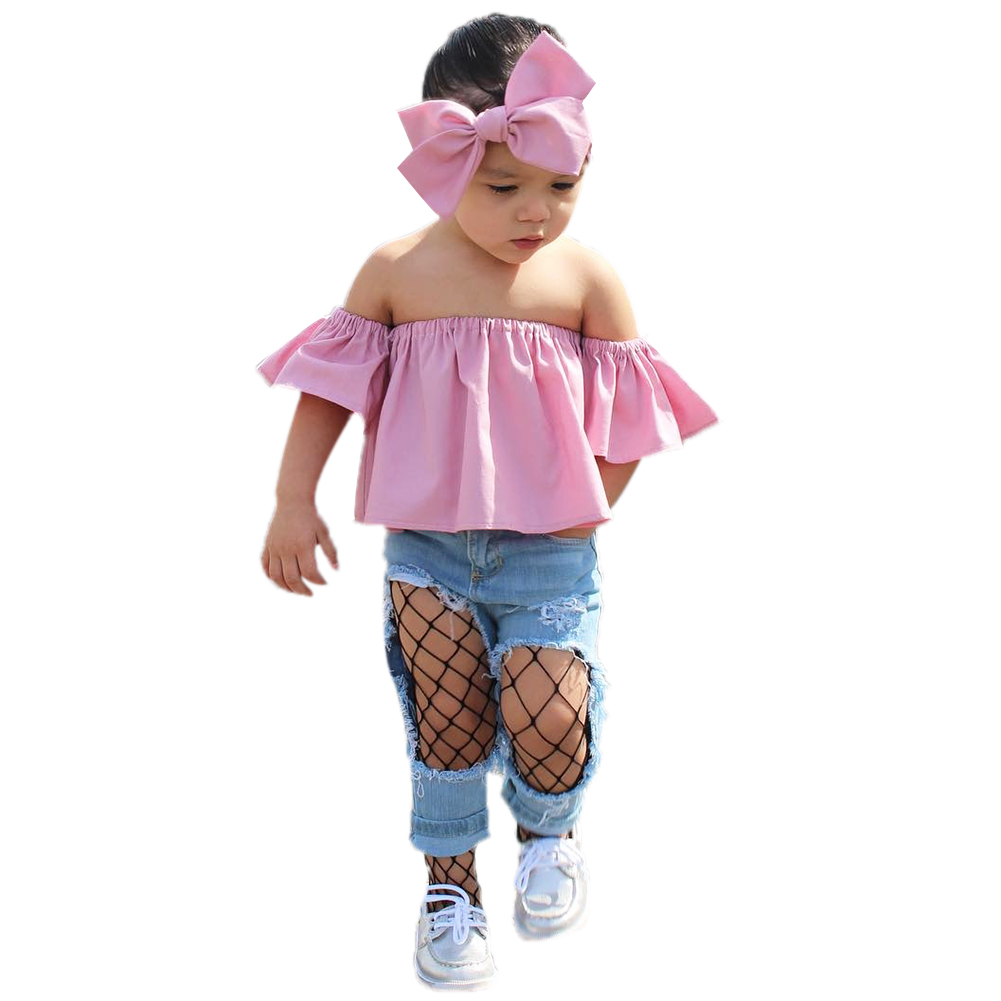 2pcs Toddlers Kids Baby Girls Clothing Tops Pullover Short Sleeve Tops T-shirt Off Shoulder Cloth Outfits + Bowknot Headband
