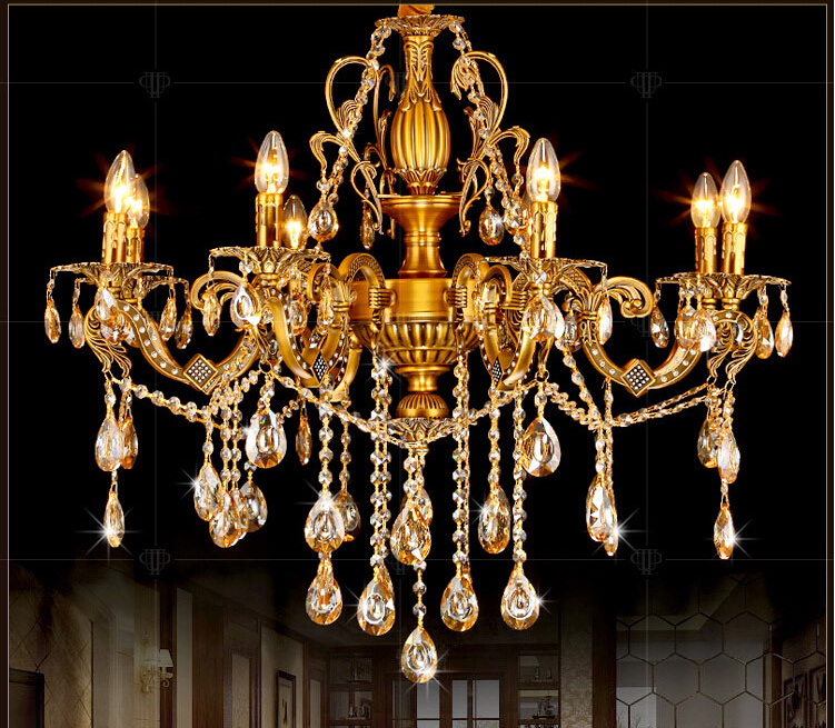Brass Color and Red Brass Chandelier AC100-240V Romantic chandelier  Pendant Lamp K9 Golden Crystal Penadnt Lamp 100% Guaranteed minimalist style chandelier choice of color french gold and chrome crystal lamp crystal chandelier golden color is ready made