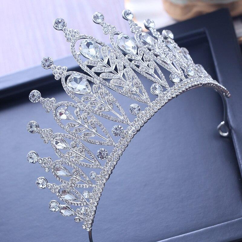 Люкс Большой Заводной диадемы кристалл свадебные аксессуары для волос для Для женщин вечерние Головные уборы queen невесты сверкающих лентой ювелирных изделий подарки