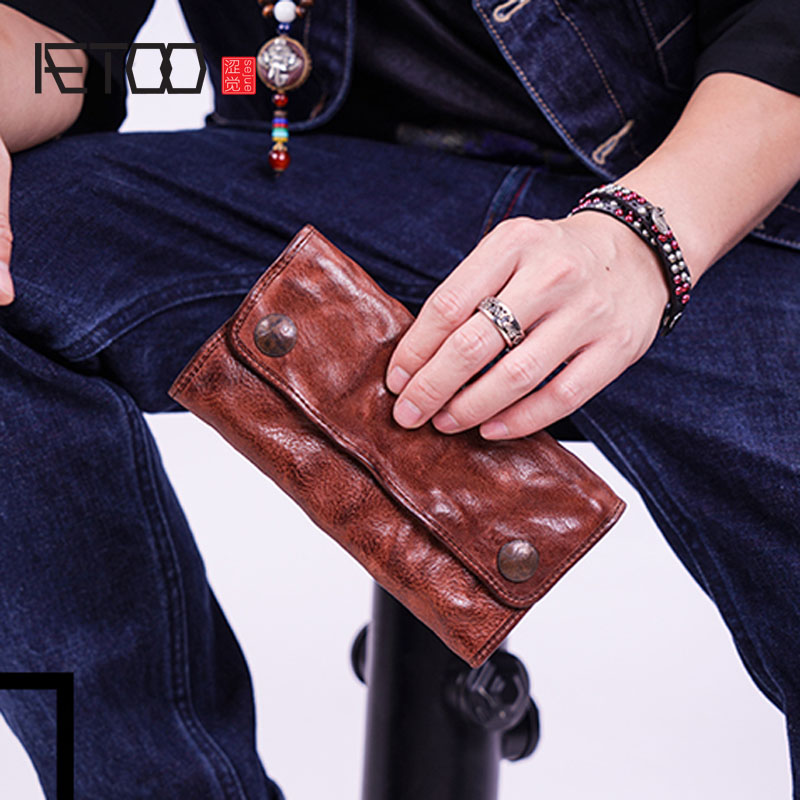 AETOO Trend youth men's tri-fold wallet men's long leather retro old pleated snap button wallet large capacity retro sweetheart neck pure color button pleated skater dress
