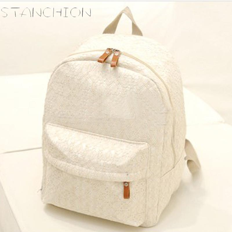 STANCHION Canvas Backpack for Women Fresh Casual Lace Big Capacity Teenager School Travel Backpack