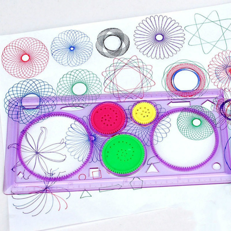 1 Pcs Spirograph Geometric Ruler Learning Drawing Tool Stationery For Student Drawing Set Creative Gift Random Color