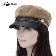 Gorra Militar sombrero femenino de invierno para Mujeres Hombres señoras  ejército Militar sombrero Pu visera de cuero negro gorr. 1fe8ae26572