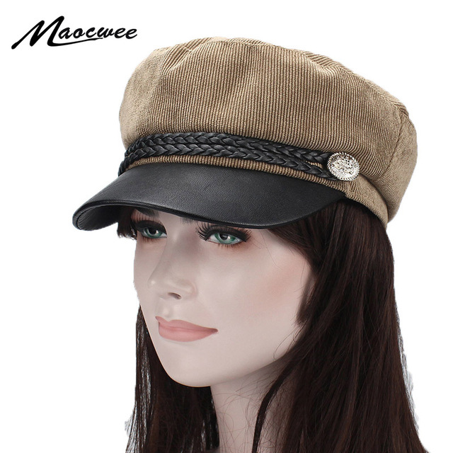 3cb96a2e438 Military Cap Hat Female Winter Hats for Women Men Ladies Army Militar Hat  Pu Leather Visor Black Cap Sailor Hat Bone Male 2018