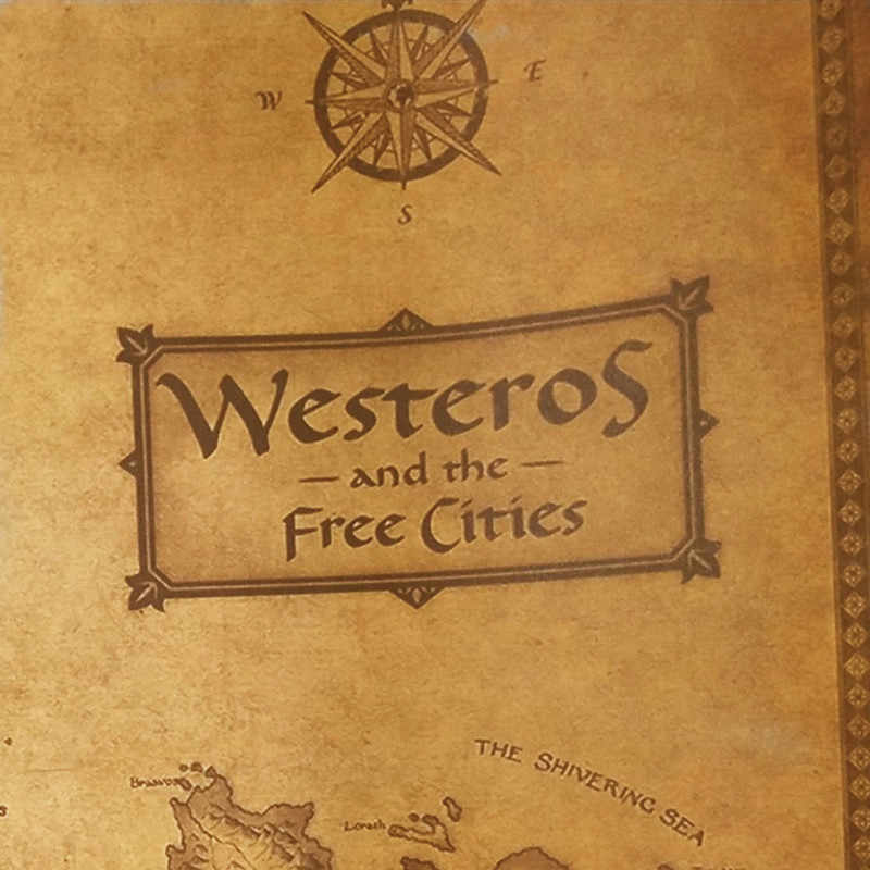 Si Di Ke משחק של הכס Westeros מפה Vintage נייר פוסטר בר בית תפאורה רטרו קראפט נייר ציור קיר מדבקות