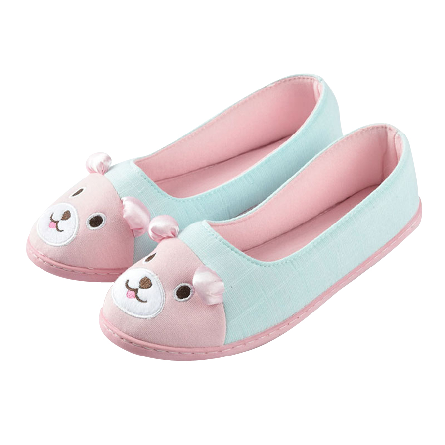 Wanita Bear Cartoon Warm Indoor Floor Floor Home Slippers Casual Comfortable Floor Cotton Flat Shoes Soft Bottom Footwear