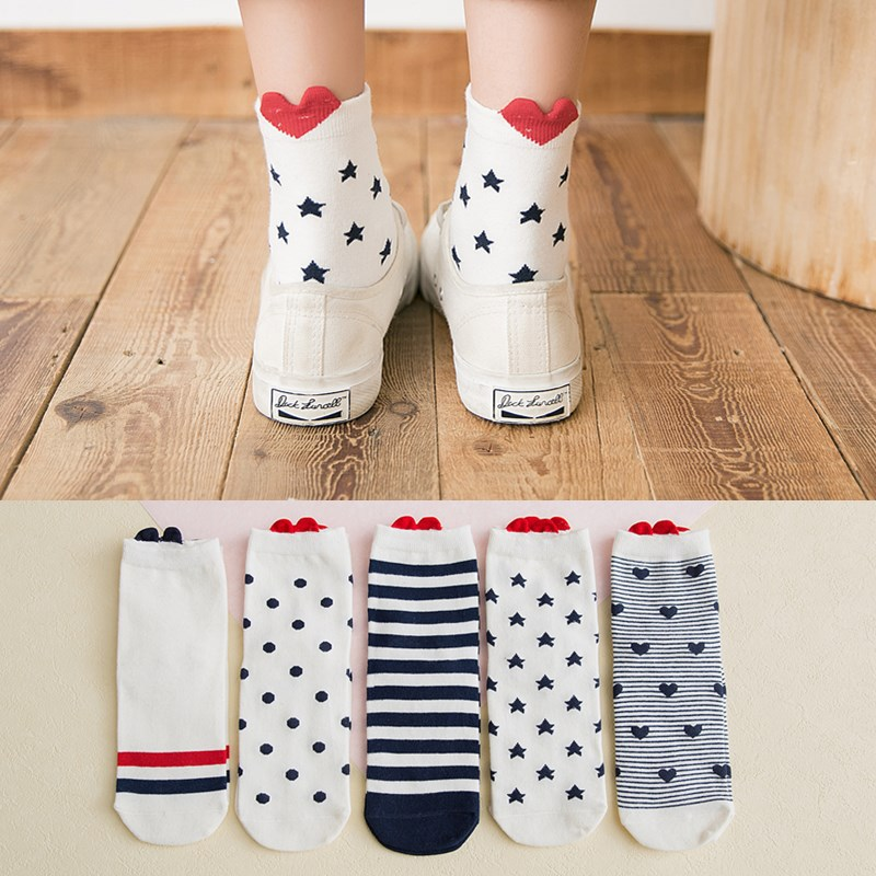 5 Pairs High Quality Red Cute Heart Print Striped Casual Cotton   Socks   for Female Comfortable Low Cut Ankle   Socks   Free Shipping