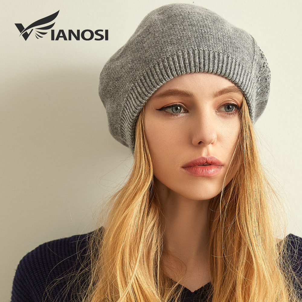 Image 2 - VIANOSI Women Beret Cotton Wool Brand New Knitted Fashion Diamond Autumn 2018 winter sale Hats for Women Caps Dropshipping-in Women's Berets from Apparel Accessories