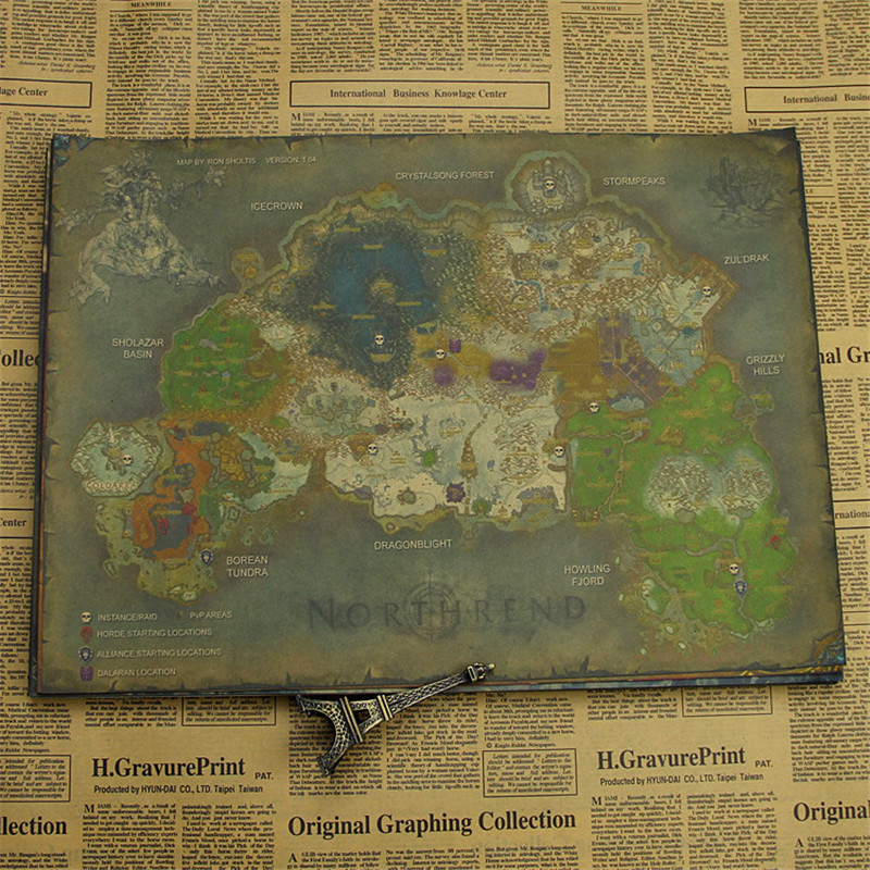 Vintage retro anime poster WOW map poster Wall Picture For Living