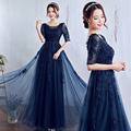 robe Navy Blue Evening Party Dress 2016 Spring New Slim Slit Neckline Half Sleeve Lace Beading Formal Prom Dress 10 colors