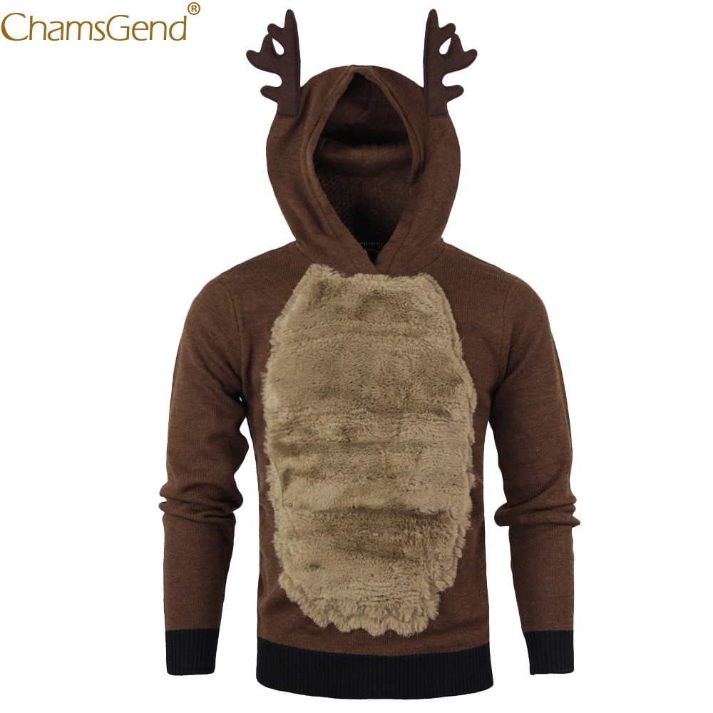 Free Shipping Funny Reindeer Costume Mens Cold Winter Warm Sweatshirts Men Cosplay Apparel For Christmas Show 80921