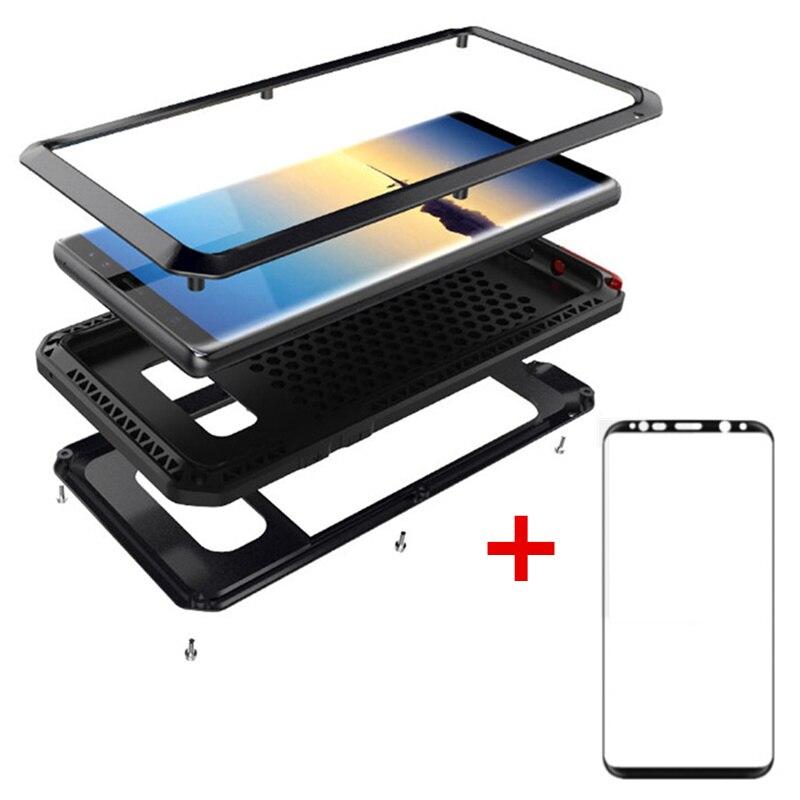 AKASO vidrio templado lujo Doom Metal caso armadura resistente a prueba de golpes para Samsung S7 S8 S9 más nota 8 caso