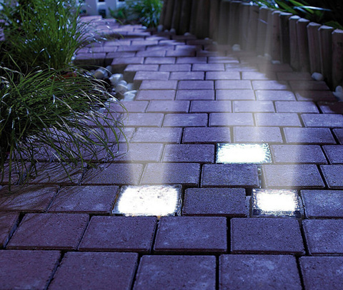 Solar Power 4 LED Garden Light Waterproof Crystal Frosted Glass Brick Floor Paver Outdoor