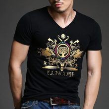 2016 new spring and summer fashion men's T-shirt classical art bronzing men short sleeve T shirt free shipping high-end luxury