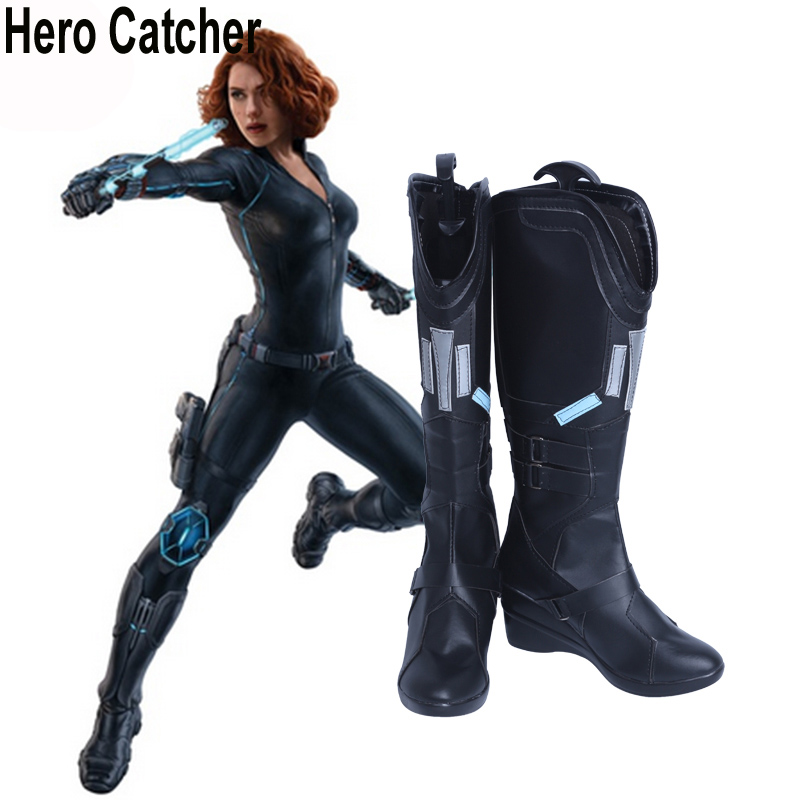 Hero Catcher High Quality Cosplay Shoes Black Widow Shoes Movie Avengers Black Widow Cosplay Boots