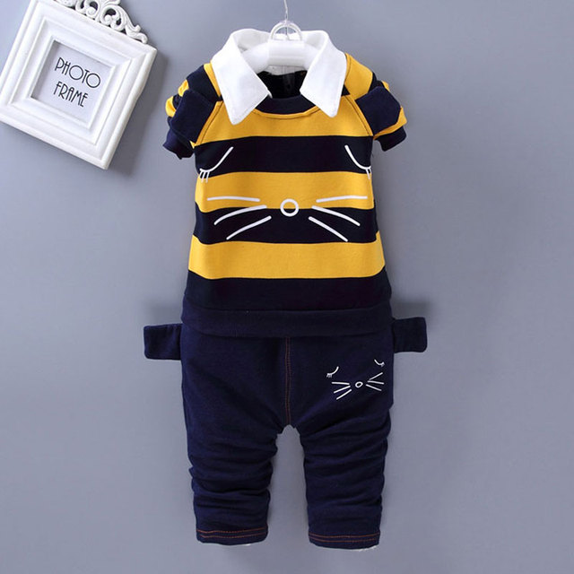2017 Spring Boy Baby Clothes Kit Sports Set for infant Baby boys wear Clothing Outfit Sports Brand Design Striped suit 2pcs sets