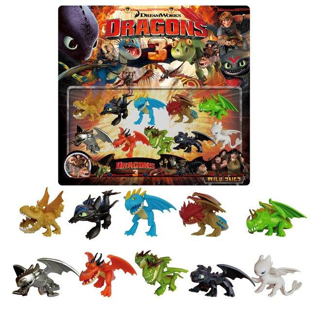 Como Treinar O Seu Dragão desdentado 3 10 pcs Dragão figura de Ação Boneca de brinquedo Stormfly Fúria Fúria Da Noite luz crianças presentes