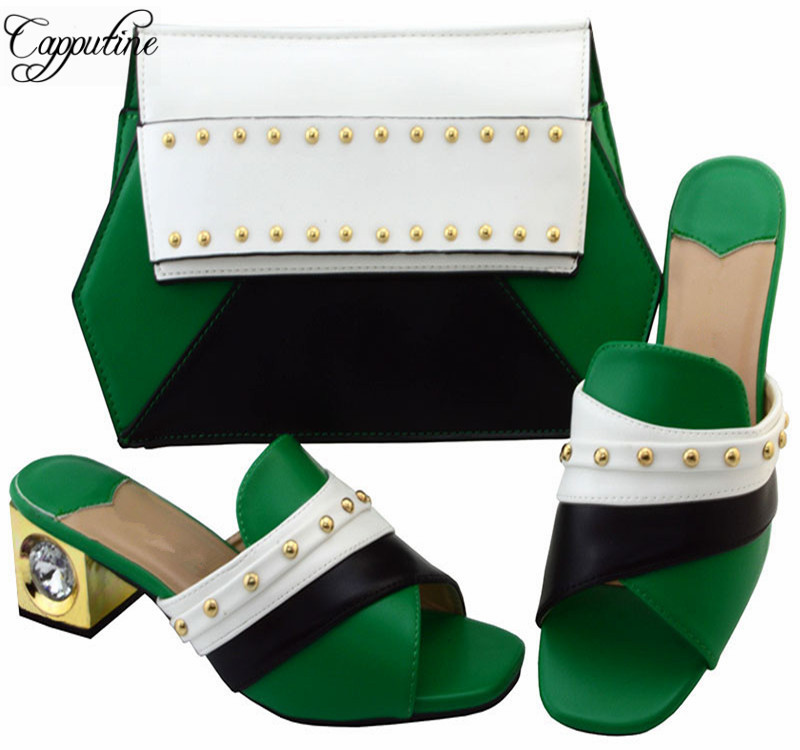 Capputine Iatlian PU Leather Slipper Shoes And Bag Set African High Heels Shoes And Bag Set For Dress Party Size 38-43 YM002 itlian style rhinestone slipper shoes and matching bag set new africa high heels shoes and bag set for party size 38 43