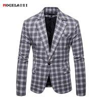 Man Blazer Chest 104 120cm Suits Men Plaid Spring Casual Men Blazers Cotton Autumn Gray Suits Male Pocket Size M 3XL 9651
