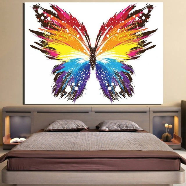 Us 8 0 Wall Art Home Decor Canvas Posters 1 Piece Colourful Abstract Butterfly Painting For Living Room Hd Printed Pictures Framework In Painting