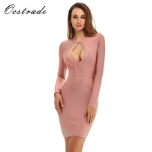 Ocstrade New Fashion Women Dress 2017 Tan Sexy Hollow Out Long Sleeve Bandage Dress Rayon Wholesale HL