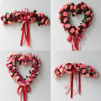 Fake Silk Rose Flower Artificial Flowers Hanging Garland Wedding Wreath Heart Shaped Festival Supplies Party Home Decoration