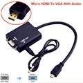 BrankBass Micro HDMI к VGA Конвертер с Аудио для Xbox 360 для PS3 для PS4 ПК DVD 1080 P Micro HDMI к VGA кабель