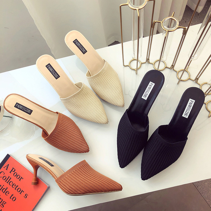 Unusual Heels Slippers Woman Pointed Toe Footwear Slides Knitted Shoes Female Fashion Mules Shoes Woman Summer 2019 New