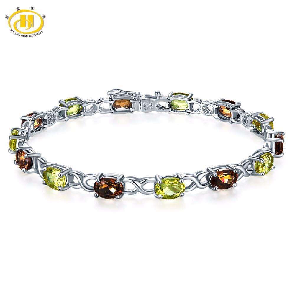 Hutang Classic Natural Gemstone Smoky Quartz & Lemon Quartz Solid 925 Sterling Silver Bracelet Fine Jewelry For Womens GiftHutang Classic Natural Gemstone Smoky Quartz & Lemon Quartz Solid 925 Sterling Silver Bracelet Fine Jewelry For Womens Gift