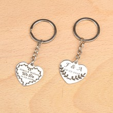 10pcs Personalized name date alloy heart Keychain Engraved Custom key chain wedding gifts for guests wedding souvenirs(China)