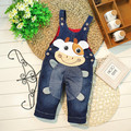 2016 new spring 1-3 years old baby denim overalls with cartoon print soft material fashion design baby pants B038