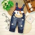 2016 nova primavera 1 - 3 anos de idade do bebê macacão jeans com impressão dos desenhos animados material macio moda calças do bebê projeto B038