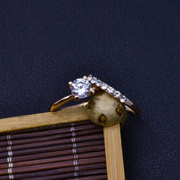 Fashion jewelry New gold color CZ zircon finger ring set wedding gift 2