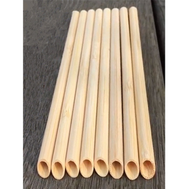 5PCS/Set 20cm Pointed Smoothie Drinking Straw Eco Friendly Reusable Bamboo Straws Big Wide Bubble Milk Tea Drinking Straw Brush 5