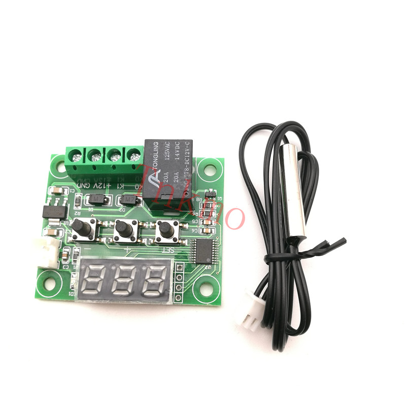 1PCS W1209 DC 12V heat cool temp thermostat temperature control switch temperature controller thermometer thermo controller radio frequency control wireless boiler thermostat temperature controller