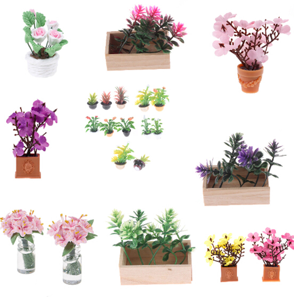 1/2PCS Mini Artificial Fake Plant Flower In Pot Doll Houses Fairy Garden Accessories Dollhouse Miniature