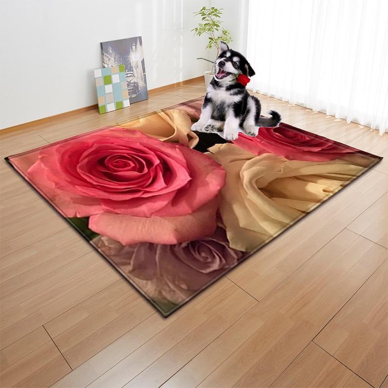 3D Rose couleur impression romantique saint valentin tapis pour le salon moderne enfants tapis état maison chambre tapis tapis de fourrure