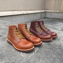 أحدث تصميم عالي الجودة مصنوع يدويًا حذاء كلاسيكي بمقدمة مستديرة من جلد البقر حذاء برقبة على الكاحل للرجال حذاء الدراجة النارية بنبيذ أحمر