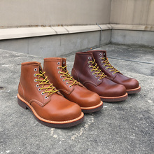 Newest Design Top Quality Handmade Vintage Round Toe Cow Leather Tooling Ankle Mens Shoes Platform Motorcycle Boots Wine Red