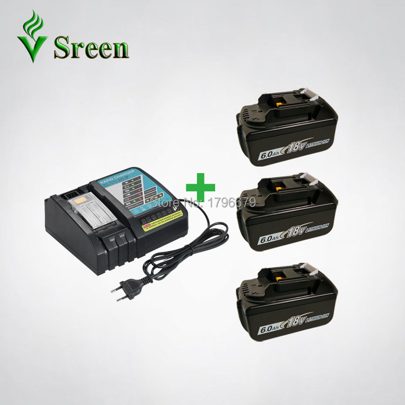 3PCS 18V BL1860 6000mAh Lithium Ion Replacement for Makita BL1850 BL1840 BL1830 Rechargeable Power Tool Battery Rapid Charger high quality brand new 3000mah 18 volt li ion power tool battery for makita bl1830 bl1815 194230 4 lxt400 charger