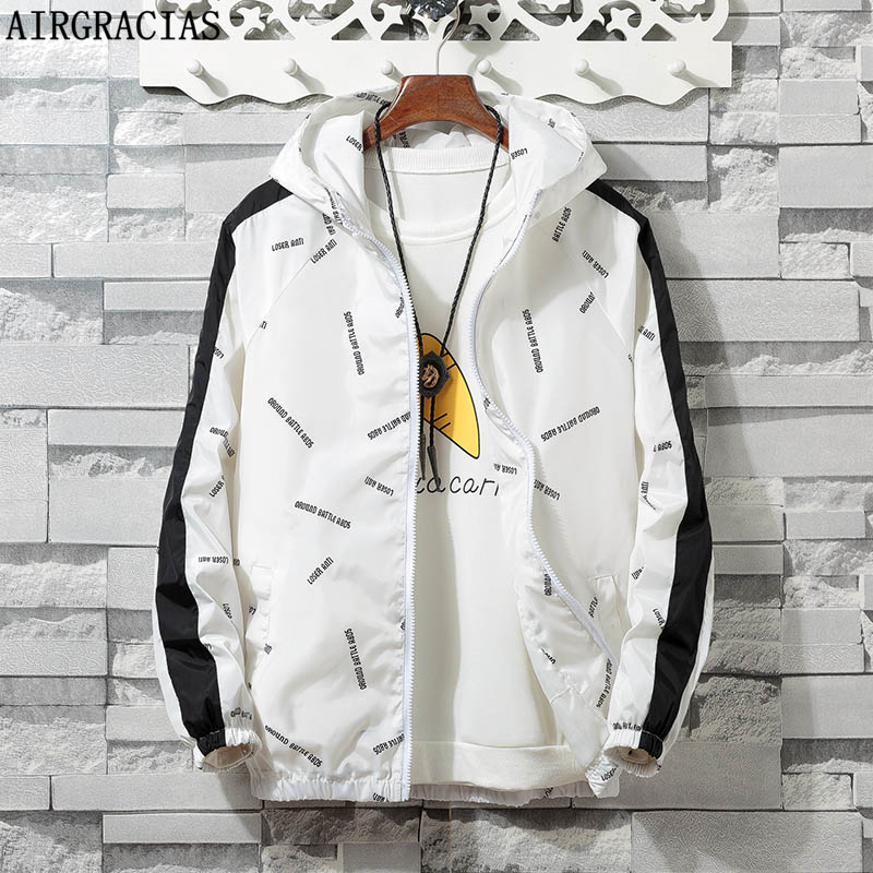 AIRGRACIAS Jacket Men Windbreaker 2019 Spring Autumn Fashion Jacket Men's Hooded Casual Jackets Male Coat Men Thin Coat Outwear(China)
